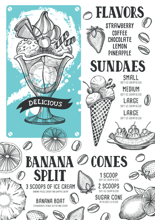 Ice cream menu for restaurant and cafe. Design template with hand-drawn graphic elements in doodle style. Иллюстрация