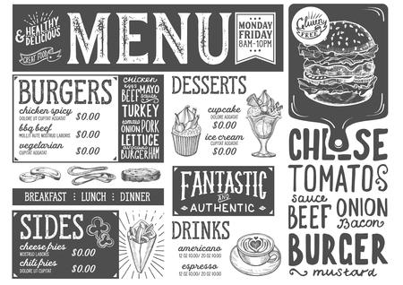 レストランとカフェのためのバーガーフードメニュー。●手描きのグラフィックイラストを使用したデザインテンプレート。