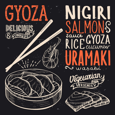 Gyoza menu for restaurant and cafe. Design template with food hand-drawn graphic illustrations.