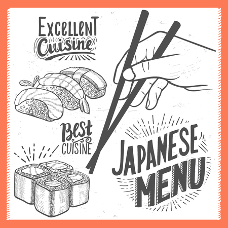 Sushi menu for restaurant and cafe. Design template with food hand-drawn graphic illustrations. 版權商用圖片 - 85841496