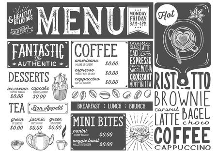 レストランとカフェのためのコーヒードリンクメニュー。●手描きのグラフィックイラストを使用したデザインテンプレート。