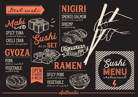 Sushi menu for restaurant and cafe. Design template with food hand-drawn graphic illustrations.