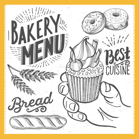 Bakery dessert menu for restaurant and cafe. Design template with food hand-drawn graphic illustrations. Stock Vector - 85841508