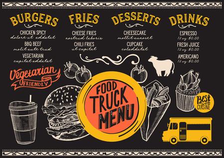 거리 축제에 대 한 음식 트럭 메뉴입니다. 손으로 그린 그래픽 삽화로 디자인 템플릿. 스톡 콘텐츠 - 85841511