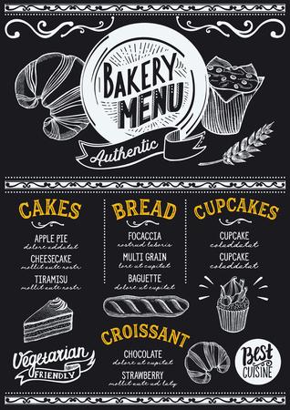 Bakery dessert menu for restaurant and cafe. Design template with food hand-drawn graphic illustrations. Ilustração
