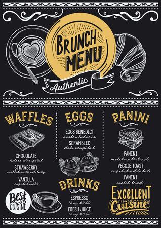 レストランとカフェのためのブランチフードメニュー。●手描きのグラフィックイラストを使用したデザインテンプレート。