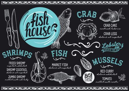 レストランとカフェのためのシーフードメニュー。●手描きのグラフィックイラストを使用したデザインテンプレート。
