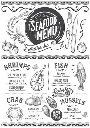 レストランとカフェのためのシーフードメニュー。●手描きのグラフィックイラストを使用したデザインテンプレート。 写真素材 - 87404448