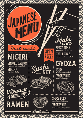 Sushi menu for restaurant and cafe. Design template with food hand-drawn graphic illustrations. Illustration