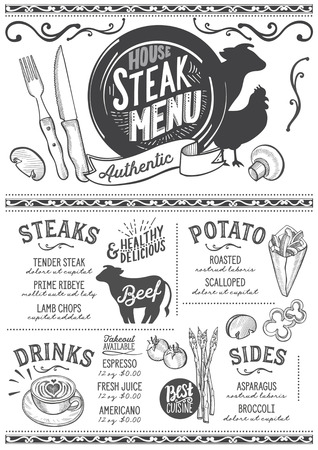 Steak menu for restaurant and cafe. Design template with food hand-drawn graphic illustrations. Stok Fotoğraf - 87404461