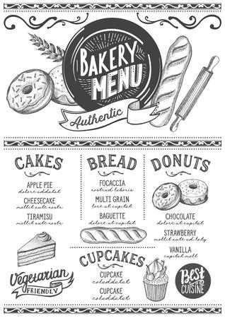 Bakery dessert menu for restaurant and cafe. Design template with food hand-drawn graphic illustrations. Illusztráció