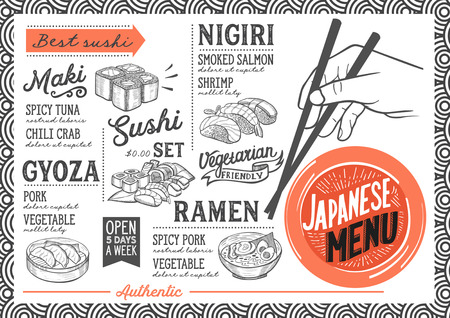 Sushi menu for restaurant and cafe. Design template with food hand-drawn graphic illustrations. Vectores