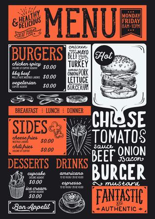 ハンバーガー レストラン、カフェのフード メニュー。手描きイラストのデザインのテンプレートです。