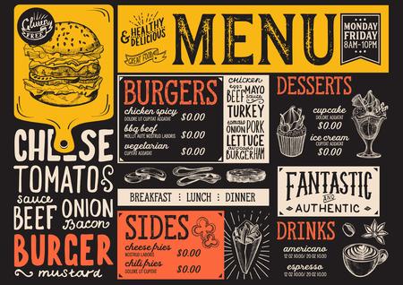 Burger food menu voor restaurant en café. Ontwerpsjabloon met handgetekende grafische illustraties. Stock Illustratie
