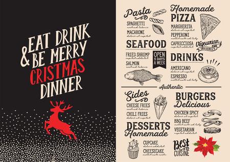 Menu di cibo di Natale per il ristorante e il design ristorante. con le carte disegnate a mano di lettera di intestazione Archivio Fotografico - 87404471
