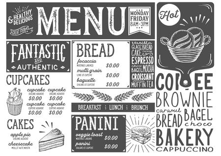 Bäckerei Dessert Menü für Restaurant und Café. Design Vorlage mit Essen handgezeichneten Grafik-Illustrationen. Standard-Bild - 87404476