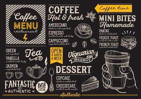 レストラン、カフェのメニューでコーヒーを飲む。手描きイラストのデザインのテンプレートです。