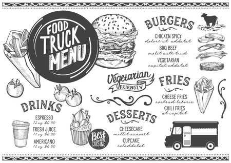 Food truck menu for street festival. Design template with hand-drawn graphic illustrations.