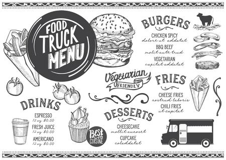Menu ciężarówki z jedzeniem na festiwal uliczny. Szablon projektu z ręcznie rysowanymi ilustracjami graficznymi.