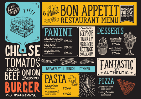 Food menu for restaurant and cafe. Design template with hand-drawn graphic illustrations. 向量圖像