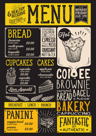 Bakery dessert menu for restaurant and cafe. Design template with food hand-drawn graphic illustrations. 向量圖像