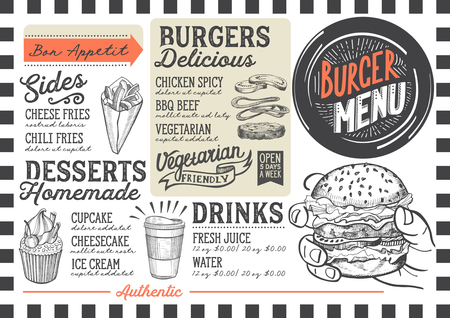 Burger food menu for restaurant and cafe. Design template with hand-drawn graphic illustrations.