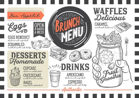 레스토랑과 카페의 브런치 푸드 메뉴. 손으로 그린 그래픽 삽화로 디자인 템플릿.