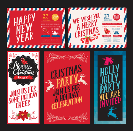 Christmas invitation for holiday party. Design template with xmas hand-drawn graphic illustrations. Illustration