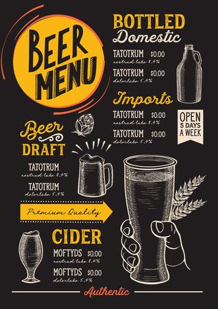 menu di birra drink per ristorante e caffè modello con lettere disegnate a mano