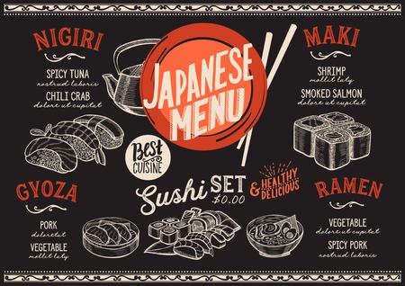 Menu de sushi pour le restaurant et le café. Modèle de conception avec des illustrations graphiques de nourriture dessinés à la main. Banque d'images - 87404544