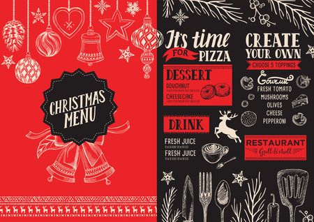 Christmas food menu for restaurant and cafe. Design template with holiday hand-drawn graphic illustrations. Stock Illustratie
