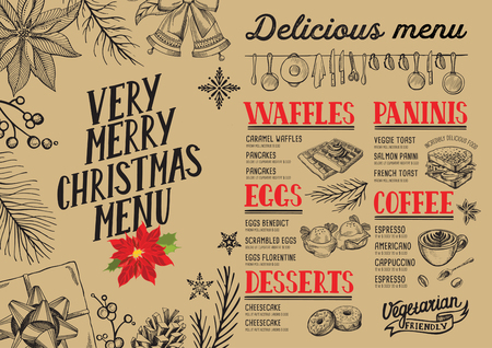 Christmas food menu for restaurant and cafe. Design template with holiday hand-drawn graphic illustrations.
