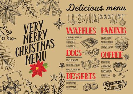 Christmas food menu for restaurant and cafe. Design template with holiday hand-drawn graphic illustrations. Ilustração