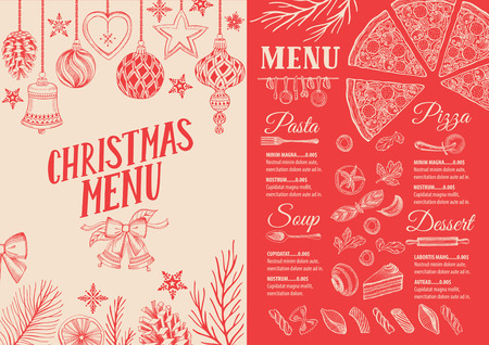 Christmas food menu for restaurant and cafe, Design template with holiday hand-drawn graphic illustrations. 向量圖像