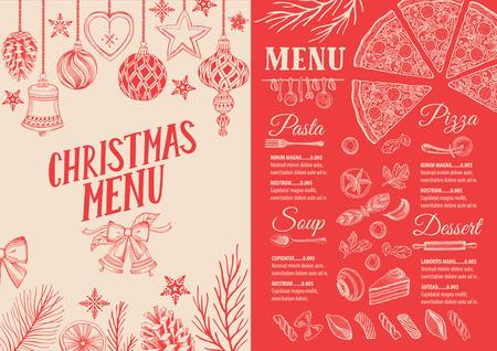 Christmas food menu for restaurant and cafe, Design template with holiday hand-drawn graphic illustrations. Ilustração