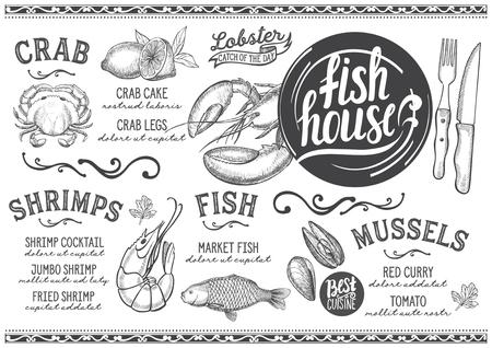 Zeevruchtenmenu voor restaurant en café. Ontwerpsjabloon met handgetekende grafische illustraties.