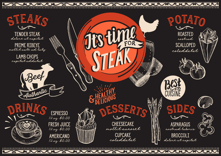 Steak menu for restaurant and cafe. Design template with food hand-drawn graphic illustrations.