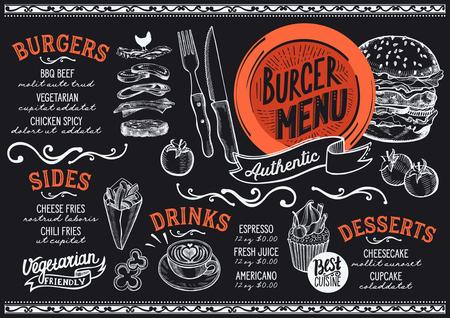 Menú de hamburguesas para restaurante y cafetería. Plantilla de diseño con ilustraciones gráficas dibujadas a mano.