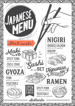 Sushi menu for restaurant and cafe. Design template with food hand-drawn graphic illustrations. Stock Vector - 89113411