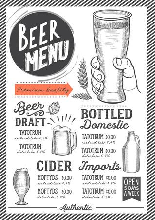 Menú de bebidas de cerveza para restaurante y cafetería. Plantilla de diseño con ilustraciones gráficas dibujadas a mano. Foto de archivo - 89113409