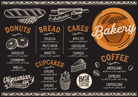 Bakery dessert menu for restaurant and cafe. Design template with food hand-drawn graphic illustrations. Vectores
