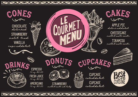 Dessert menu for restaurant and cafe. Design template with food hand-drawn graphic illustrations.
