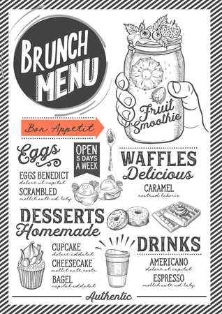 Brunch food menu for restaurant and cafe. Design template with hand-drawn graphic illustrations. Vector Illustration