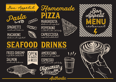 Food menu for restaurant and cafe. Design template with hand-drawn graphic illustrations. Illusztráció