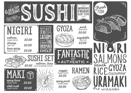 Sushi menu for restaurant and cafe. Design template with food hand-drawn graphic illustrations. Stock Vector - 89113522