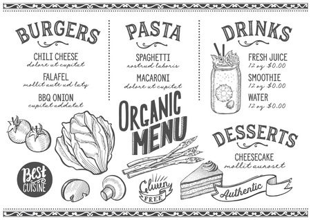 Organic menu for restaurant and cafe. Design template with food hand-drawn graphic illustrations.