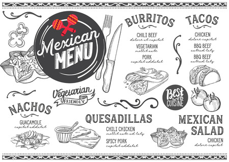 Mexican menu for restaurant and cafe. Design template with food hand-drawn graphic illustrations.