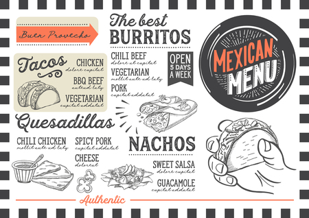 Mexican menu for restaurant and cafe. Design template with food hand-drawn graphic illustrations. Ilustração