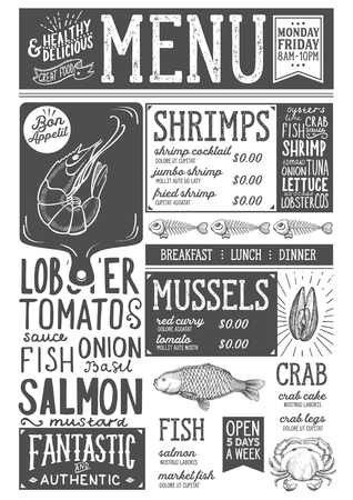 레스토랑과 카페를위한 해산물 메뉴. 손으로 그린 그래픽 삽화로 디자인 템플릿.
