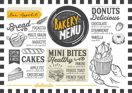 ベーカリー レストラン、カフェのデザート メニュー。食べ物の手描きイラストのデザインのテンプレートです。